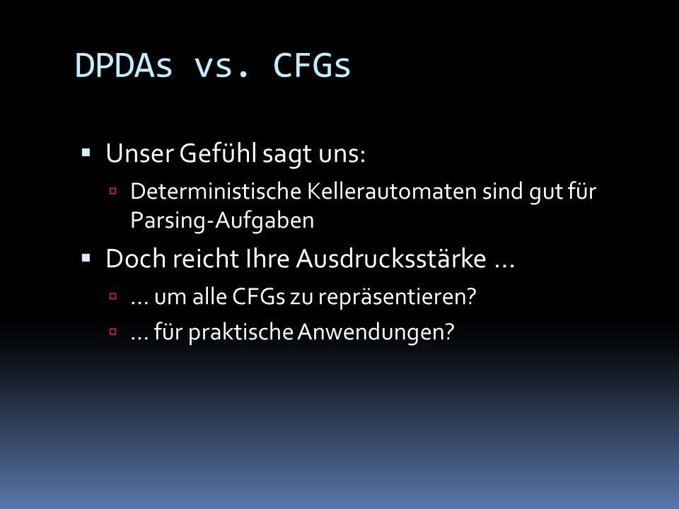 DPDAs vs. CFGs Unser Gefühl sagt uns: