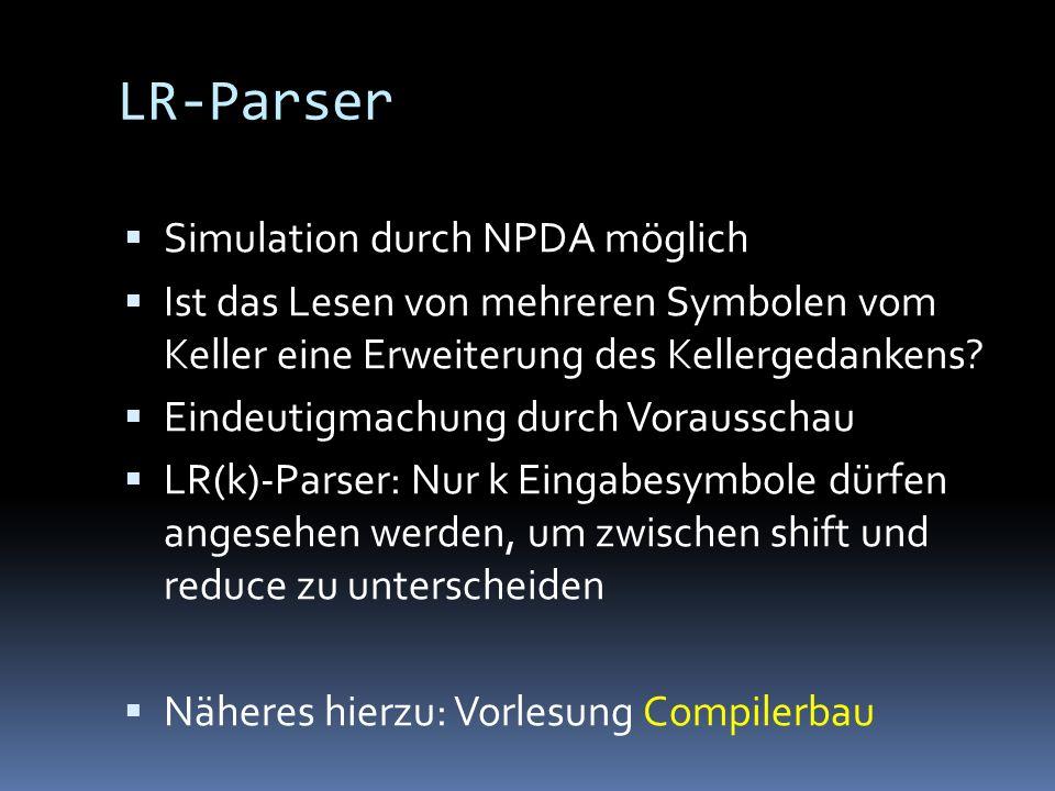LR-Parser Simulation durch NPDA möglich
