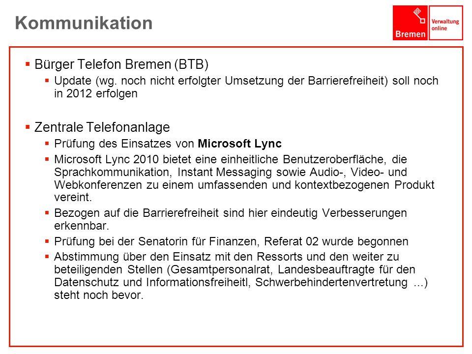 Kommunikation Bürger Telefon Bremen (BTB) Zentrale Telefonanlage