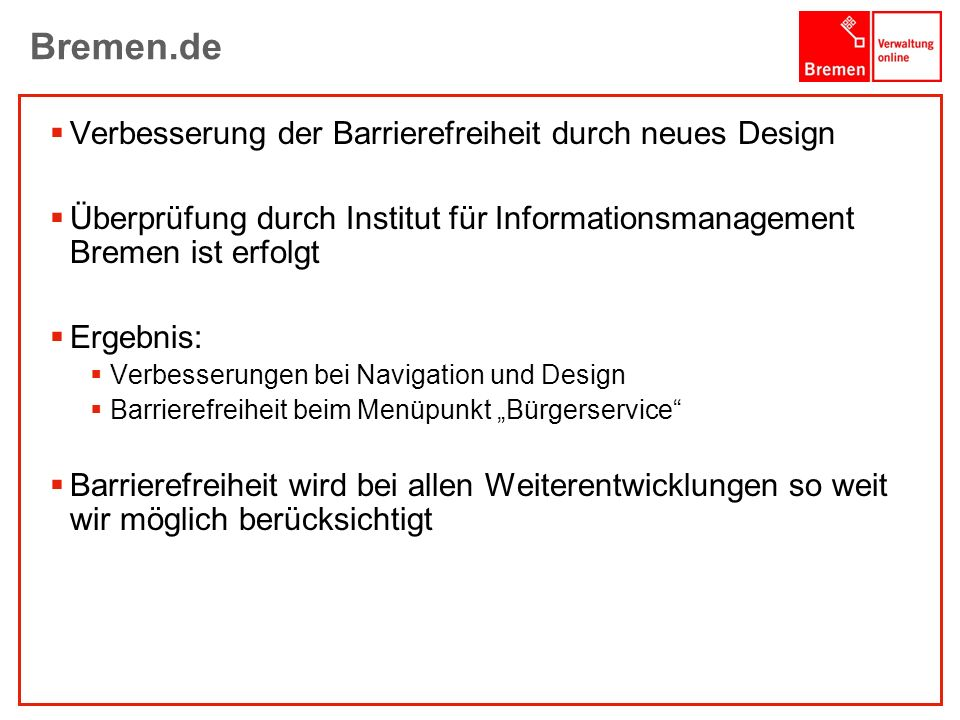 Bremen.de Verbesserung der Barrierefreiheit durch neues Design