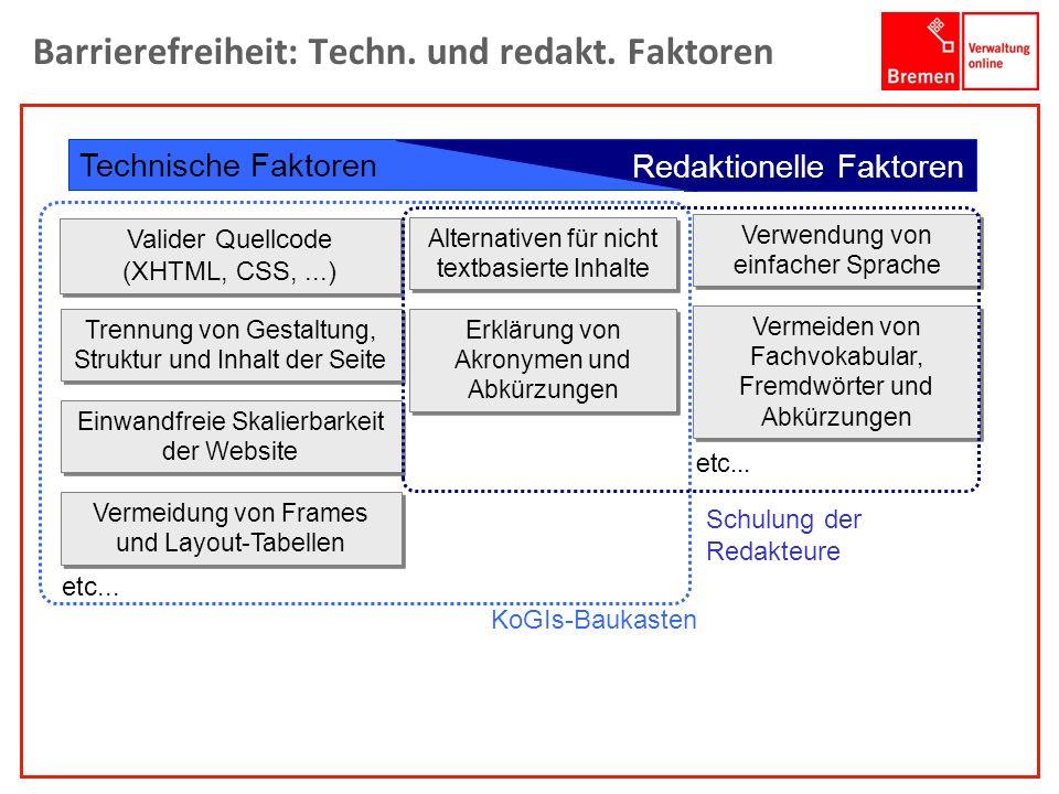 Barrierefreiheit: Techn. und redakt. Faktoren