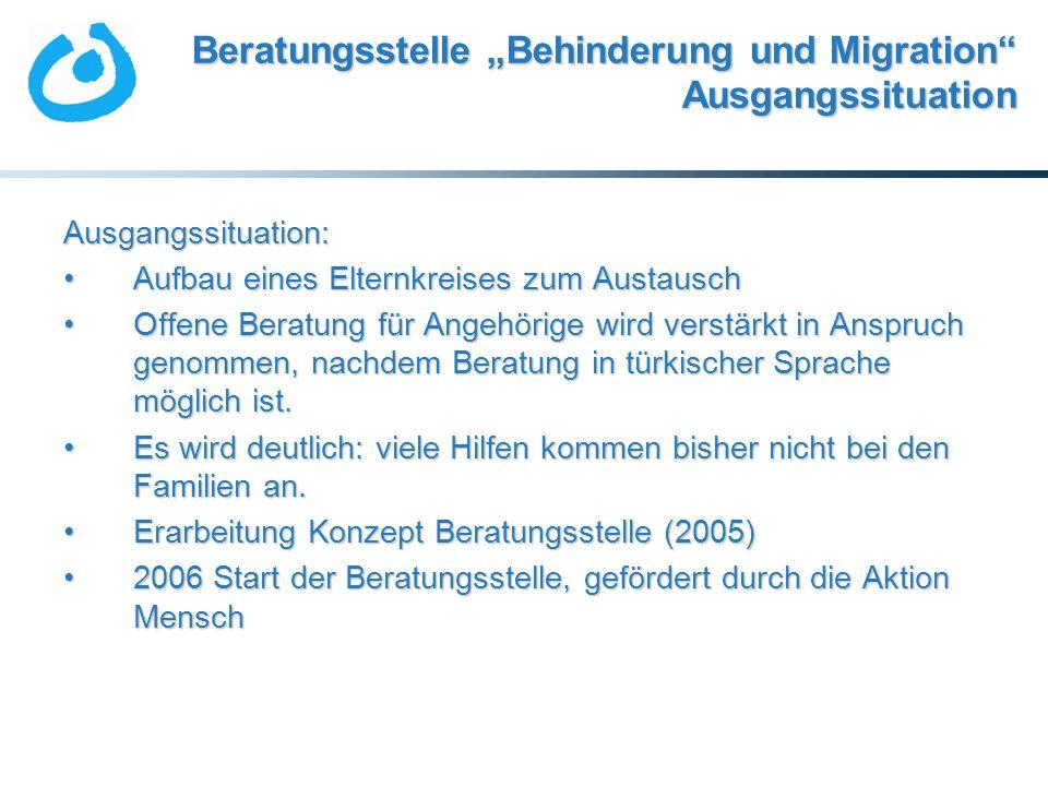"""Beratungsstelle """"Behinderung und Migration Ausgangssituation"""