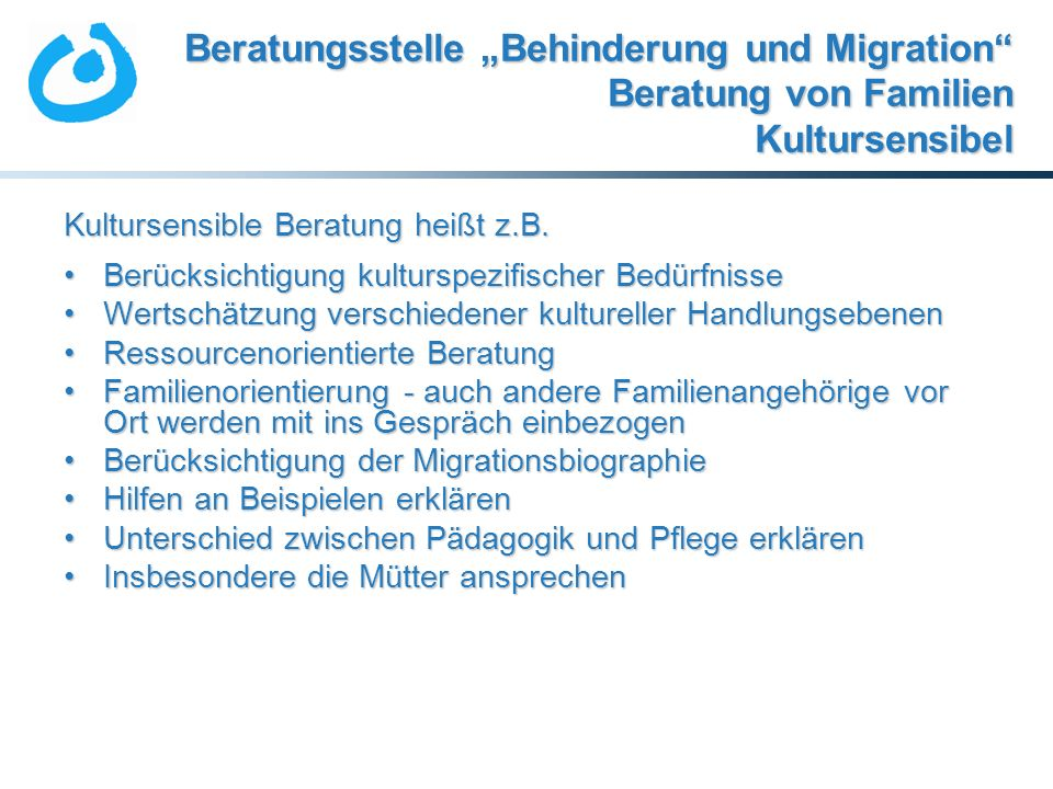 """Beratungsstelle """"Behinderung und Migration Beratung von Familien Kultursensibel"""