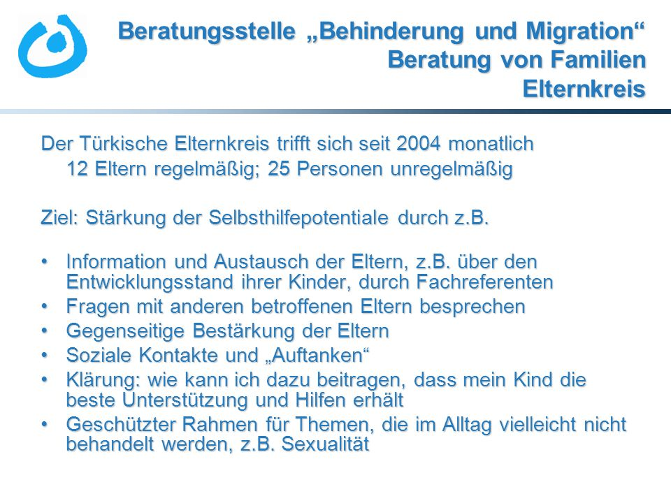 """Beratungsstelle """"Behinderung und Migration Beratung von Familien Elternkreis"""