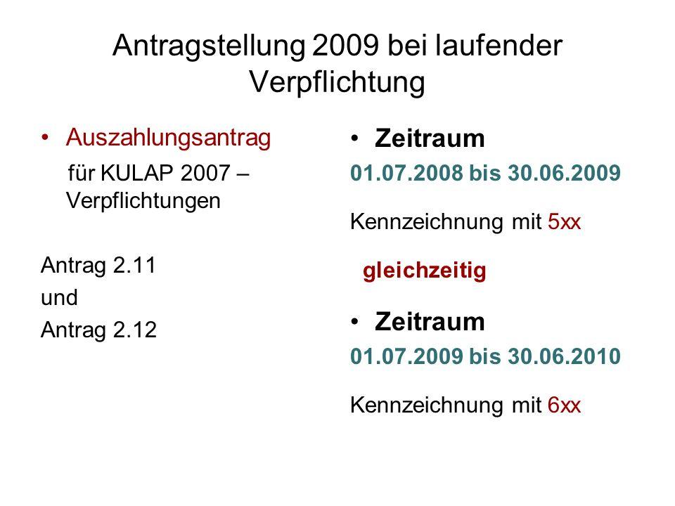 Antragstellung 2009 bei laufender Verpflichtung