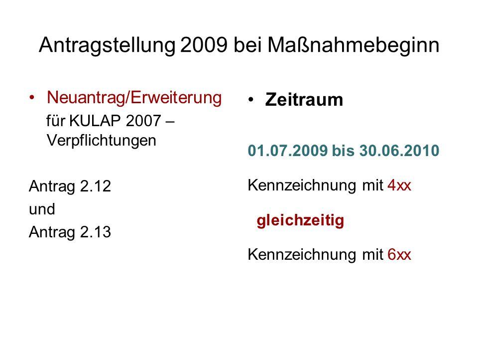 Antragstellung 2009 bei Maßnahmebeginn