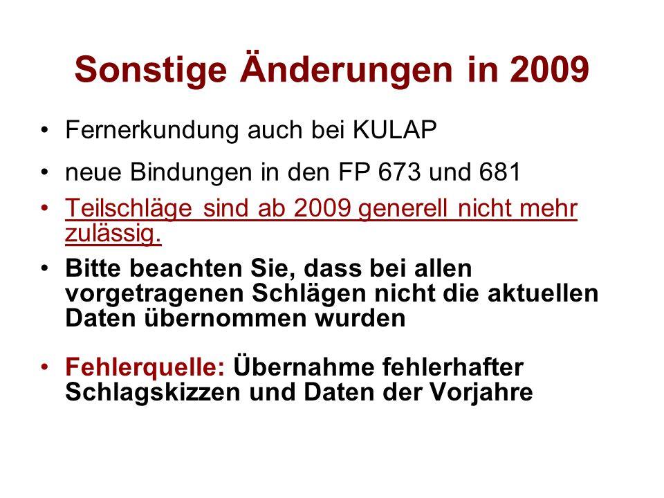 Sonstige Änderungen in 2009