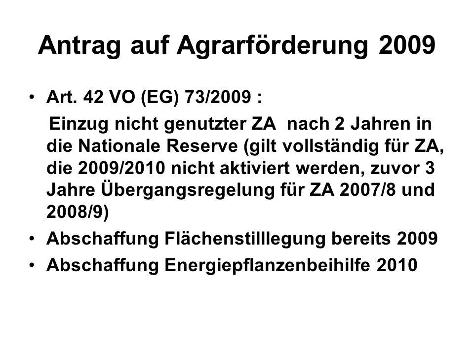 Antrag auf Agrarförderung 2009