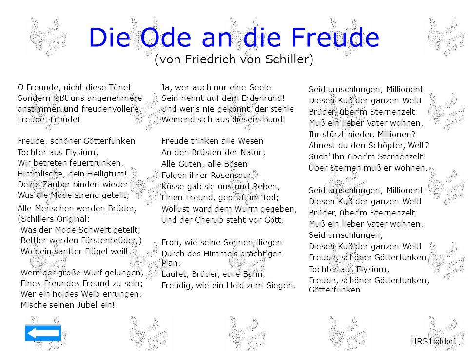 Die Ode an die Freude (von Friedrich von Schiller)