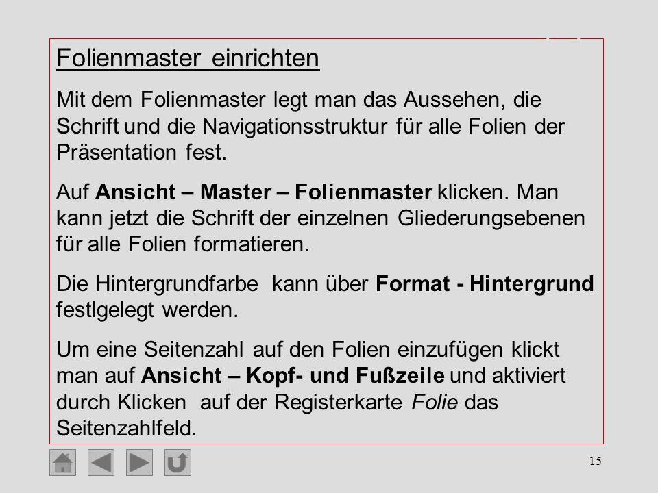 Einrichten der Masterfolie (2)