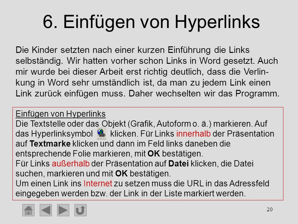 6. Einfügen von Hyperlinks