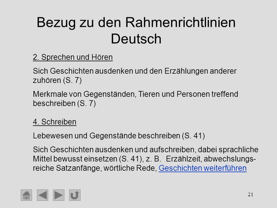 Bezug zu den Rahmenrichtlinien Deutsch