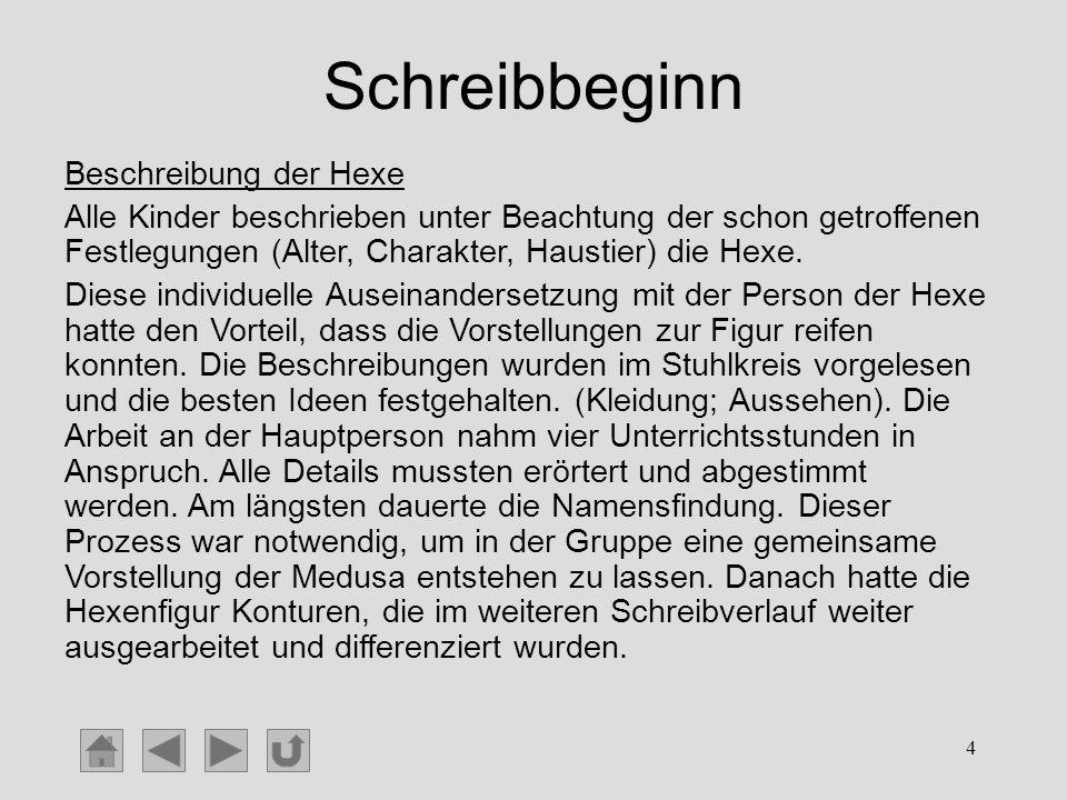 Schreibbeginn Beschreibung der Hexe