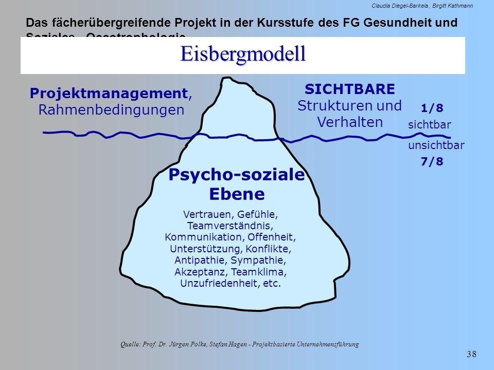 Eisbergmodell Psycho-soziale Ebene SICHTBARE Strukturen und Verhalten