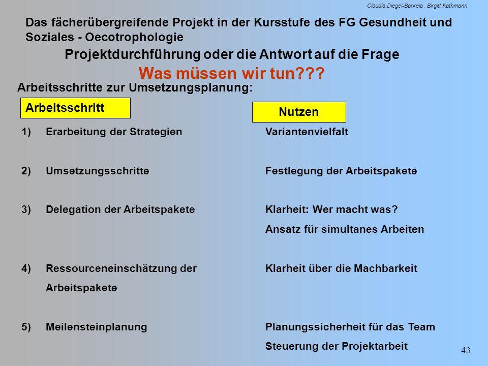 Projektdurchführung oder die Antwort auf die Frage Was müssen wir tun