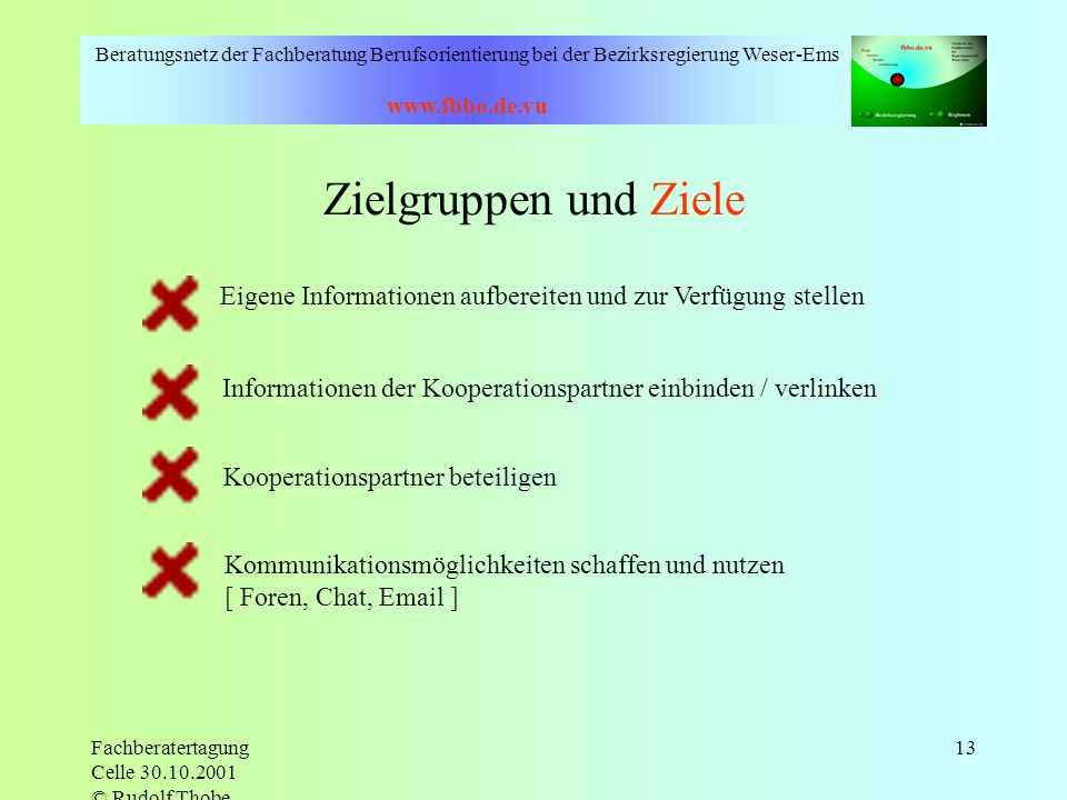 Beratungsnetz der Fachberatung Berufsorientierung bei der Bezirksregierung Weser-Ems