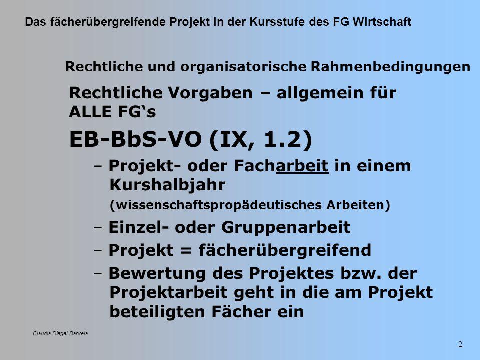 EB-BbS-VO (IX, 1.2) Rechtliche Vorgaben – allgemein für ALLE FG's