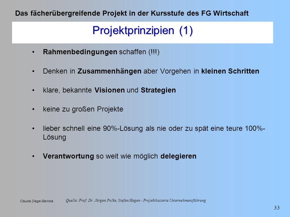 Projektprinzipien (1) Rahmenbedingungen schaffen (!!!)
