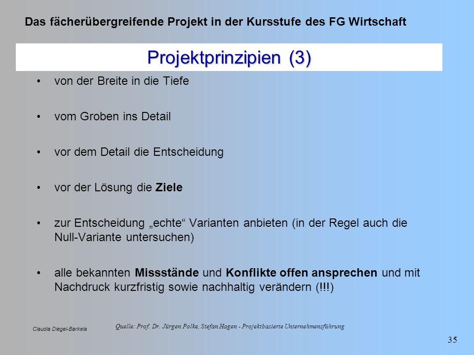 Projektprinzipien (3) von der Breite in die Tiefe