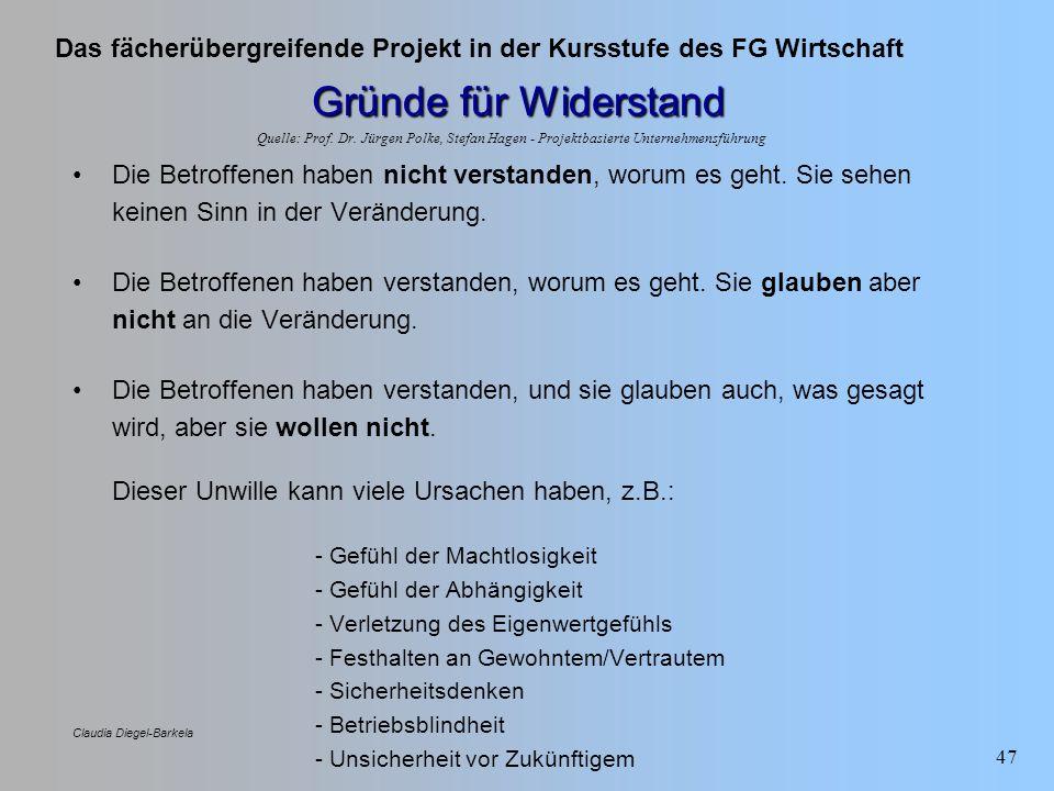 Gründe für Widerstand Quelle: Prof. Dr. Jürgen Polke, Stefan Hagen - Projektbasierte Unternehmensführung.