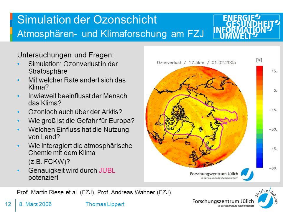 Simulation der Ozonschicht Atmosphären- und Klimaforschung am FZJ