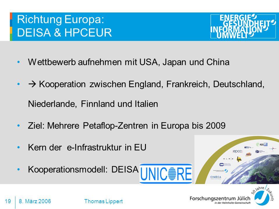 Richtung Europa: DEISA & HPCEUR