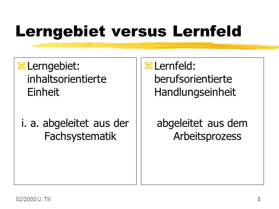Lerngebiet versus Lernfeld