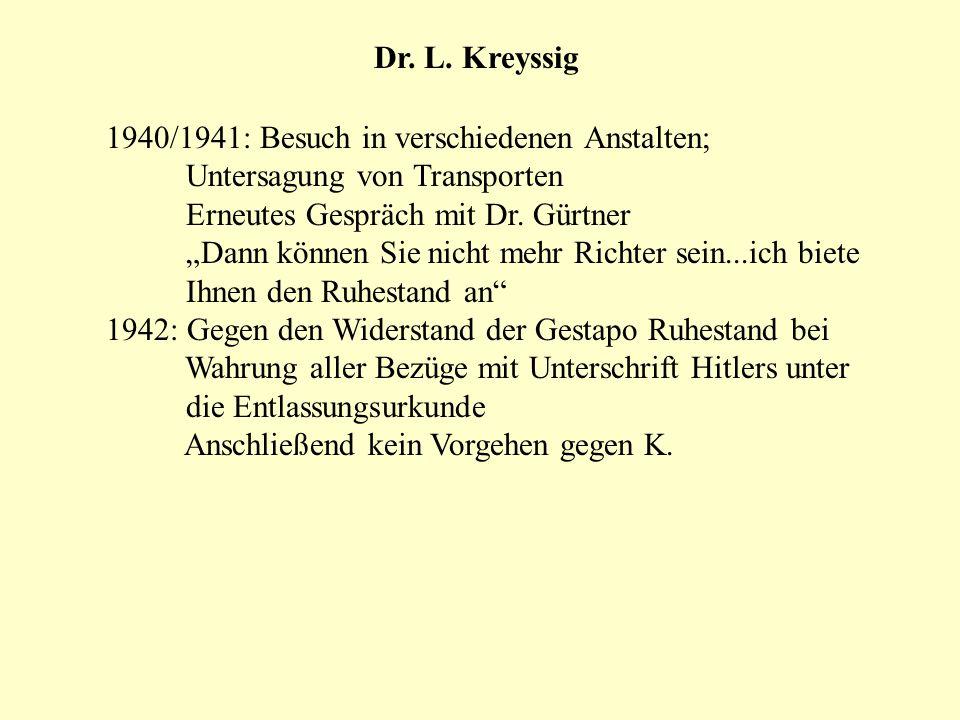 Dr. L. Kreyssig 1940/1941: Besuch in verschiedenen Anstalten; Untersagung von Transporten. Erneutes Gespräch mit Dr. Gürtner.