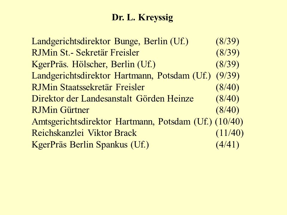 Dr. L. Kreyssig Landgerichtsdirektor Bunge, Berlin (Uf.) (8/39) RJMin St.- Sekretär Freisler (8/39)