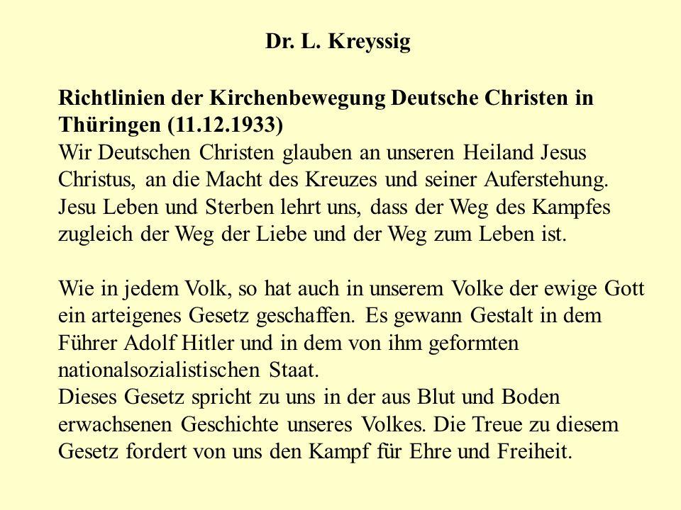 Dr. L. Kreyssig Richtlinien der Kirchenbewegung Deutsche Christen in Thüringen (11.12.1933)