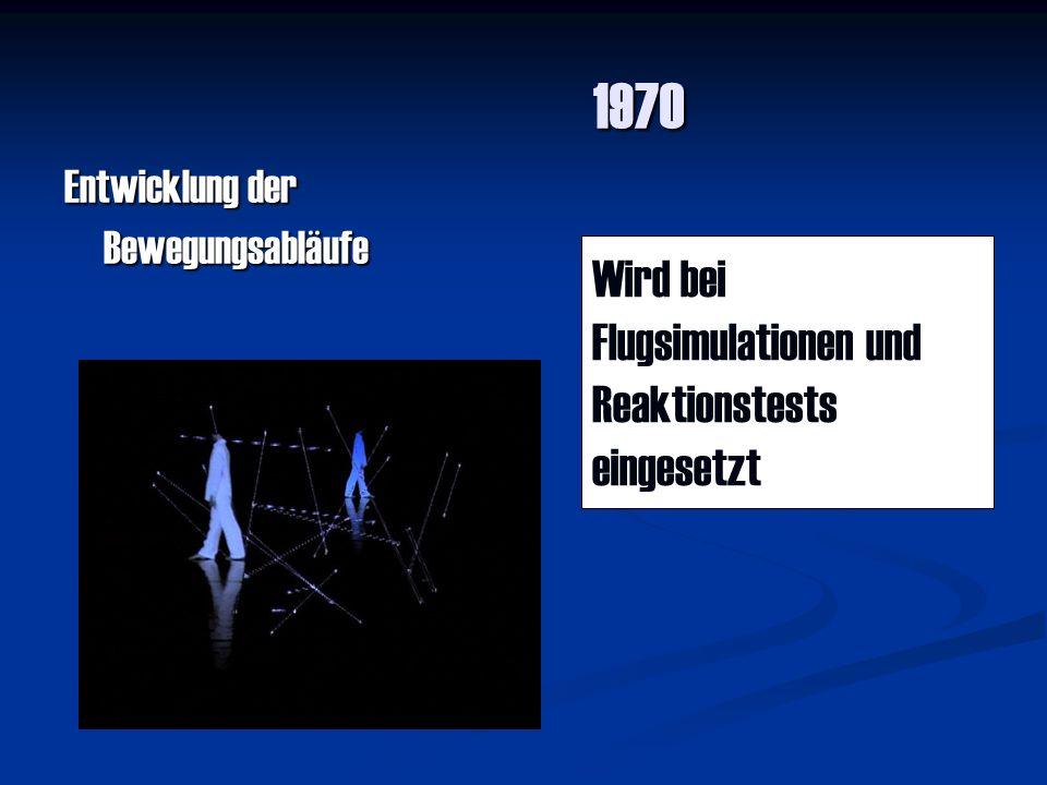 1970 Wird bei Flugsimulationen und Reaktionstests eingesetzt