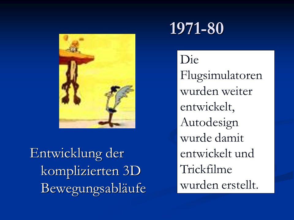 1971-80 Entwicklung der komplizierten 3D Bewegungsabläufe