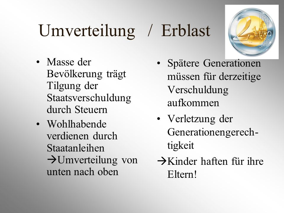Umverteilung / Erblast