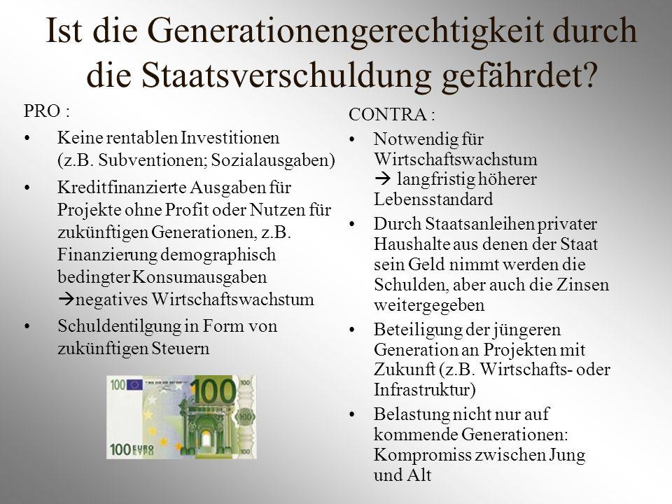 Ist die Generationengerechtigkeit durch die Staatsverschuldung gefährdet