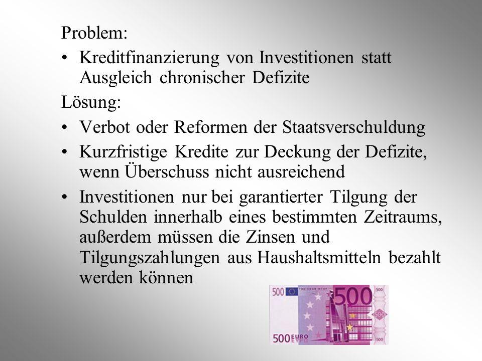 Problem: Kreditfinanzierung von Investitionen statt Ausgleich chronischer Defizite. Lösung: Verbot oder Reformen der Staatsverschuldung.