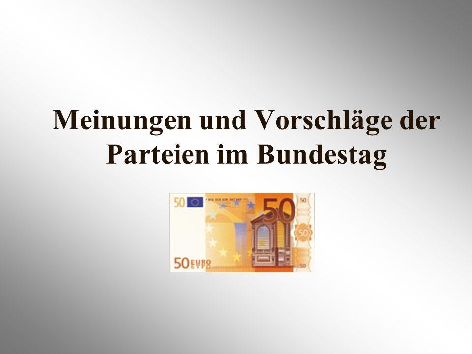 Meinungen und Vorschläge der Parteien im Bundestag