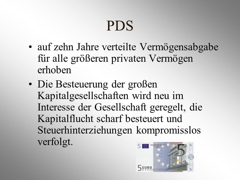 PDS auf zehn Jahre verteilte Vermögensabgabe für alle größeren privaten Vermögen erhoben.