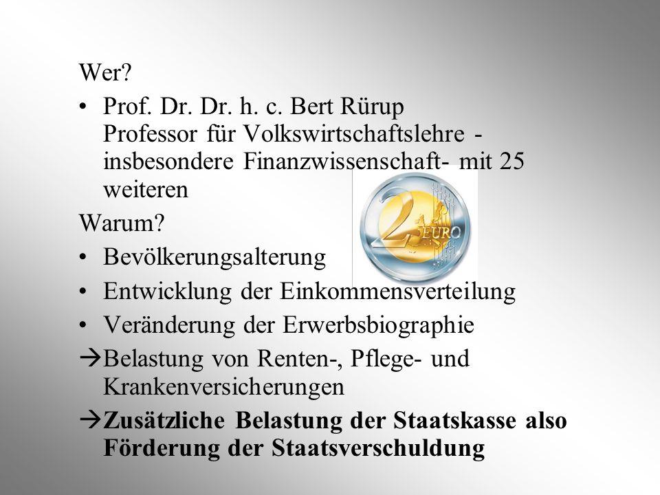Wer Prof. Dr. Dr. h. c. Bert Rürup Professor für Volkswirtschaftslehre - insbesondere Finanzwissenschaft- mit 25 weiteren.
