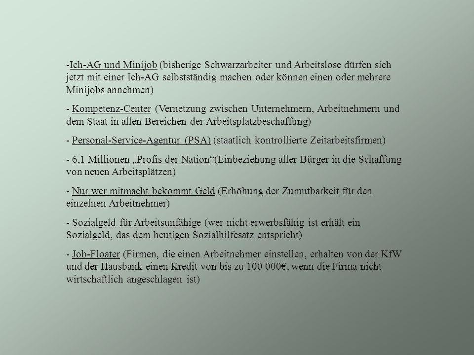 Ich-AG und Minijob (bisherige Schwarzarbeiter und Arbeitslose dürfen sich jetzt mit einer Ich-AG selbstständig machen oder können einen oder mehrere Minijobs annehmen)