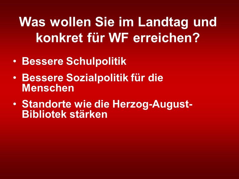 Was wollen Sie im Landtag und konkret für WF erreichen