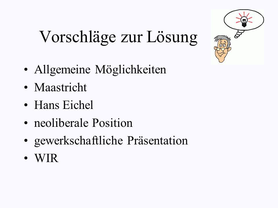 Vorschläge zur Lösung Allgemeine Möglichkeiten Maastricht Hans Eichel