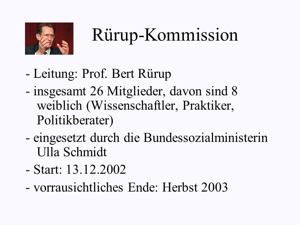 Rürup-Kommission - Leitung: Prof. Bert Rürup
