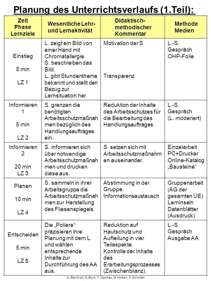 Planung des Unterrichtsverlaufs (1.Teil):