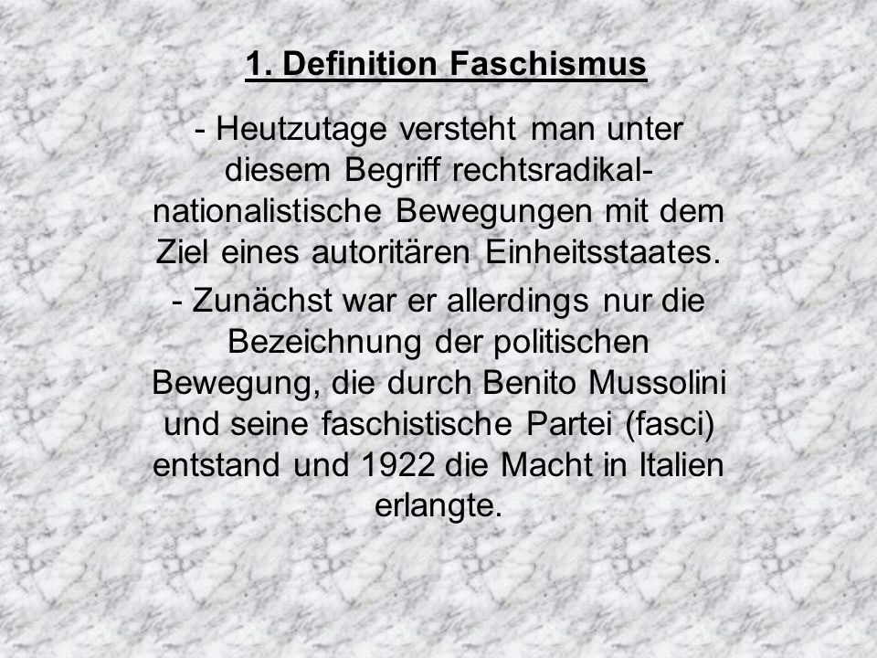 1. Definition Faschismus
