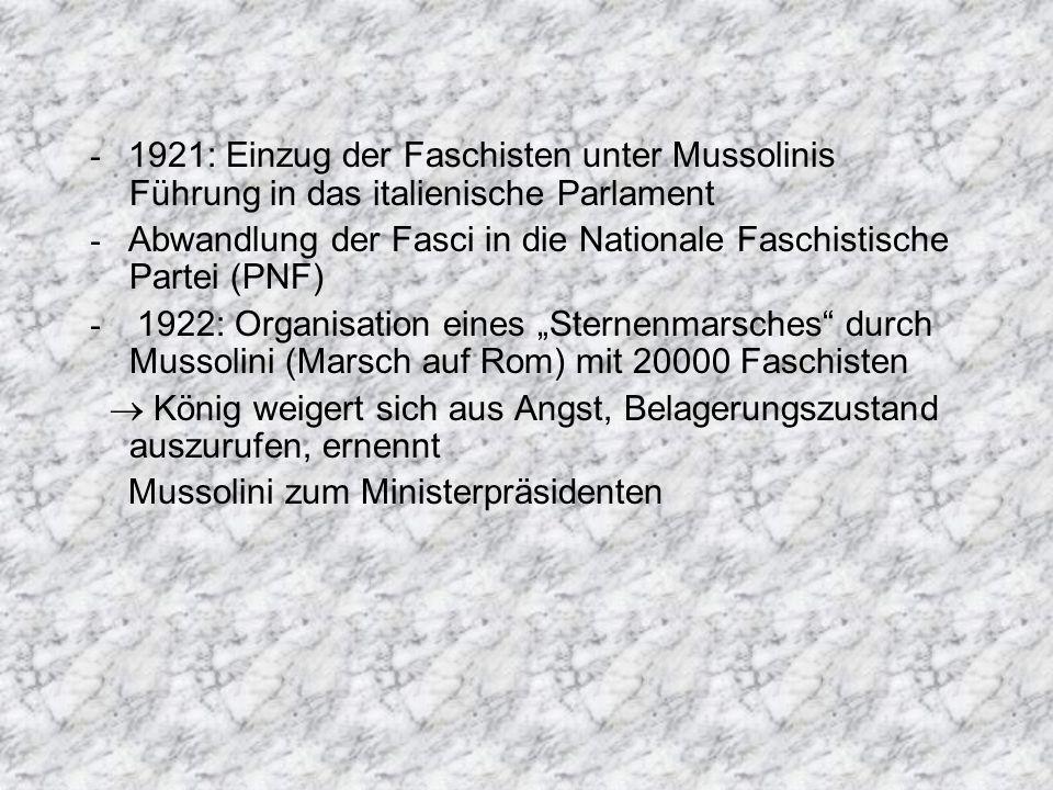 - 1921: Einzug der Faschisten unter Mussolinis Führung in das italienische Parlament