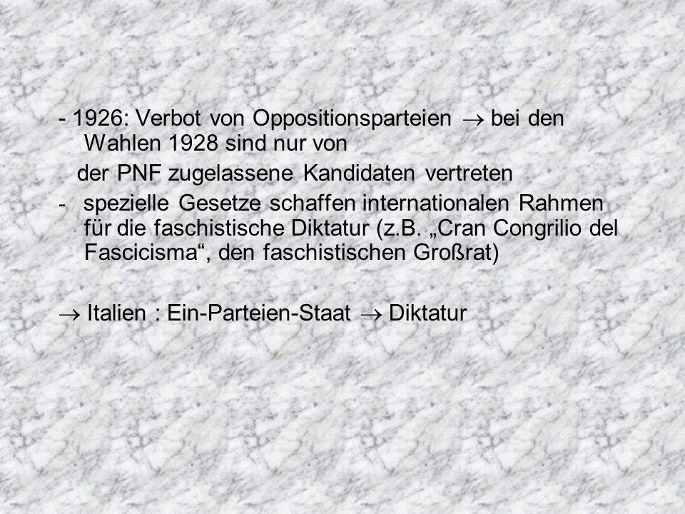 - 1926: Verbot von Oppositionsparteien  bei den Wahlen 1928 sind nur von