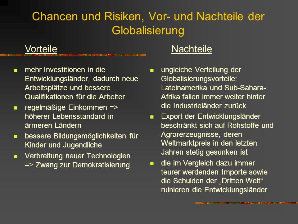 Chancen und Risiken, Vor- und Nachteile der Globalisierung