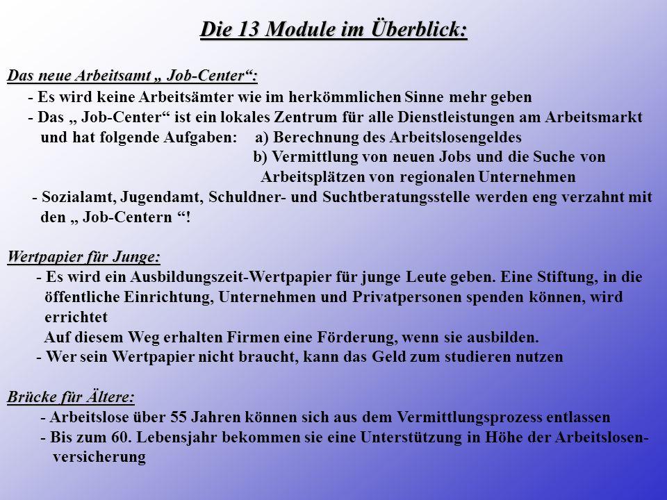 Die 13 Module im Überblick:
