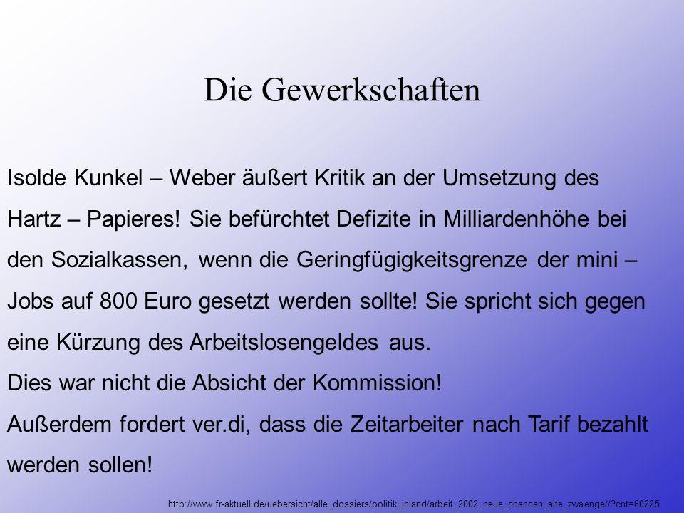 Die Gewerkschaften Isolde Kunkel – Weber äußert Kritik an der Umsetzung des. Hartz – Papieres! Sie befürchtet Defizite in Milliardenhöhe bei.