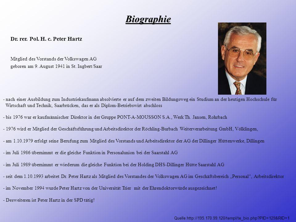 Biographie Dr. rer. Pol. H. c. Peter Hartz